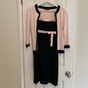 Light Pink and Black Dress and Sweater Combo